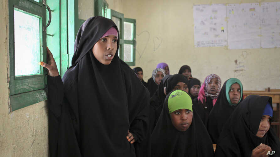Teenaged girls attend an after-school discussion of female genital mutilation at the Sheik Nuur Primary School in Hargeisa, Somaliland on Feb. 16, 2014.