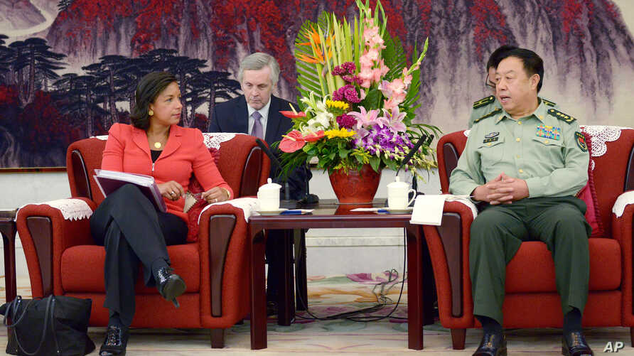 U.S. National Security Advisor Susan Rice, left, talks with Fang Changlong,  vice chairman of the Central Military Commission at Bayi Building in Beijing Tuesday, Sept. 9, 2014. The U.S. national security adviser says China and the U.S. need to avoid...