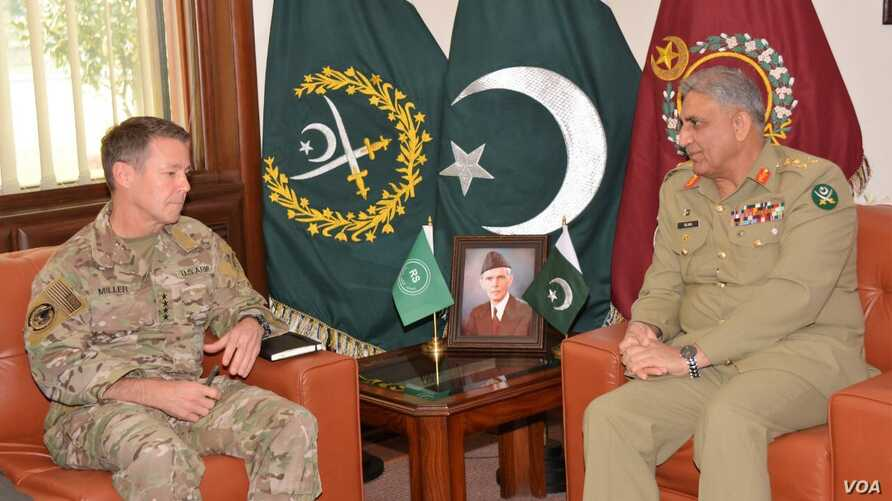 General Austin S. Miller, commander of U.S. and NATO forces in Afghanitan, met with Pakistan army chief, General Qamar Javed Bajwa, in the garrision city of Rawalpindi on Dec. 27, 2018.
