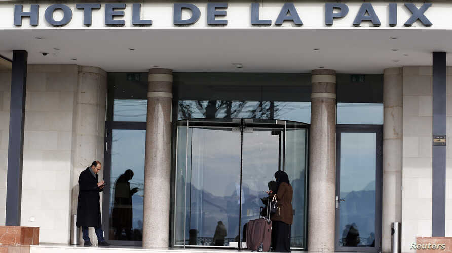 The Hotel de la Paix where Syrian opposition leaders hold a meeting is pictured in Lausanne, Switzerland, Jan. 27, 2016.