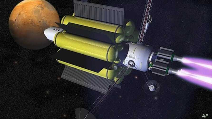 Artist's conception of several VASIMR engines propelling a craft through space