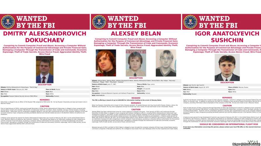 These three FBI suspects wanted for hacking-related crimes have all worked with the Russian security services.