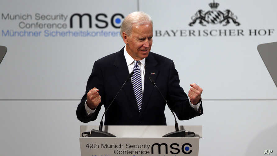 US Vice President Joe Biden gestures during his speech at the Security Conference in Munich, February 2, 2013.