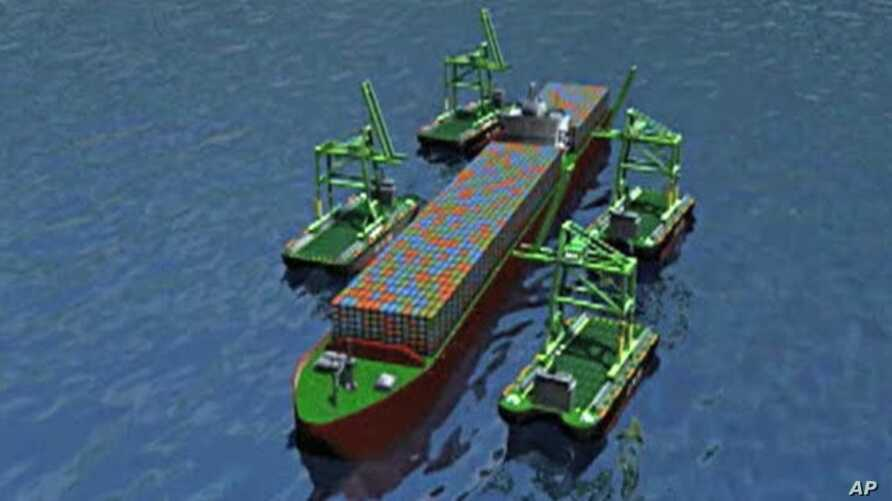 A computer simulation demonstrates how smaller ships could unload containers from a larger cargo ship at sea
