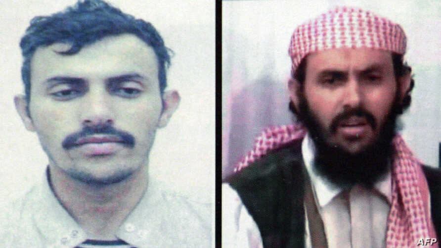 FILES - A reproduction of a document released by the Yemeni Interior Ministry on January 15, 2010 shows two different undated portraits of Yemeni Qassem al-Rimi, the new military commander of Al-Qaeda in the Arabian Peninsula (AQAP).