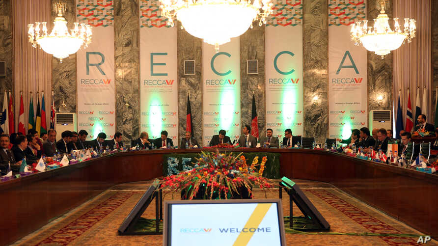 Afghan and foreign delegations participate in the 6th Regional Economic Cooperation Conference of Afghanistan (RECCA) at the foreign affairs ministry in Kabul, Afghanistan, Sept. 3, 2015.