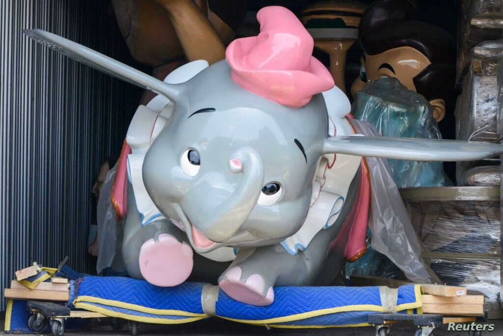 An original Dumbo the Flying Elephant ride car from an auction of Disneyland theme park vehicles, props and artifacts is shown in this undated image from Van Eaton Galleries in Sherman Oaks, California, released Aug. 27, 2018.