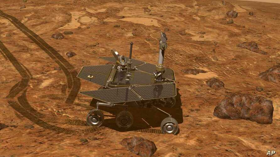 This artist's rendering provided by NASA shows the Mars rover, Opportunity, on the surface of Mars.