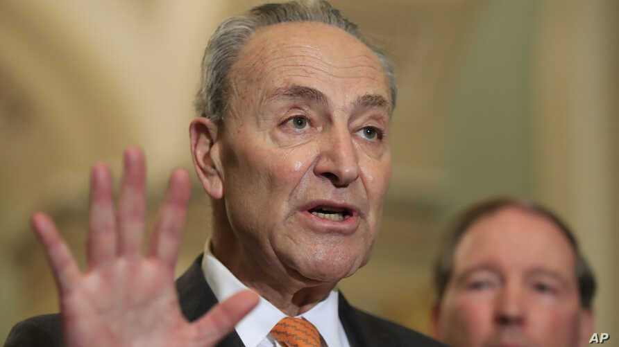 FILE - Senate Minority Leader Chuck Schumer of N.Y. with Sen. Tom Udall, D-N.M., speaks to reporters on Capitol Hill in Washington.