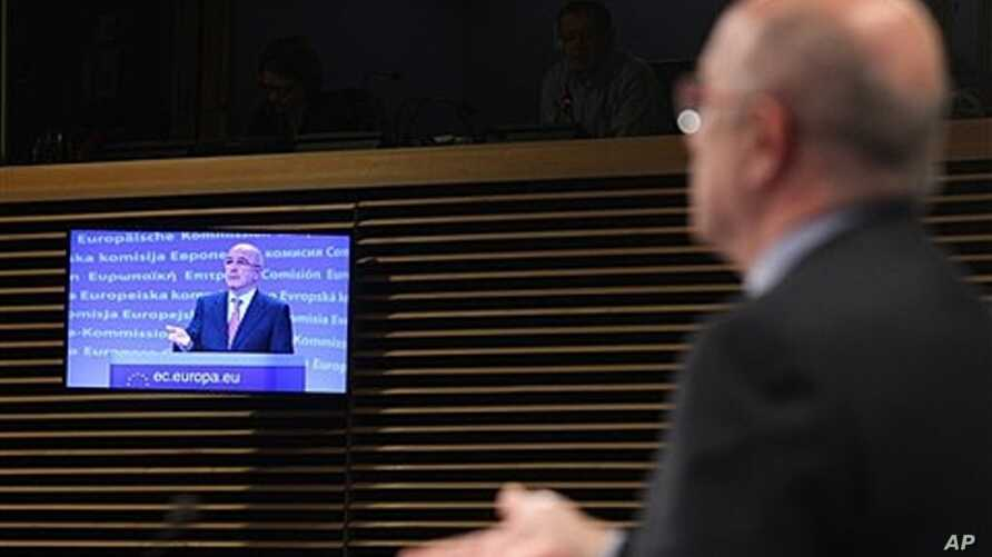 European Commissioner for Competition Joaquin Almunia addressing media, Brussels, Feb. 1, 2012.