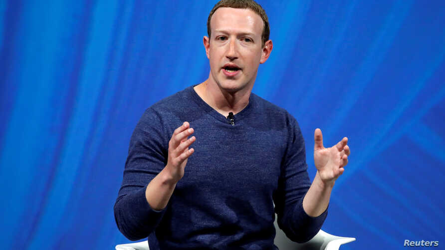 FILE - Facebook's founder and CEO Mark Zuckerberg speaks at the Viva Tech start-up and technology summit in Paris, France, May 24, 2018