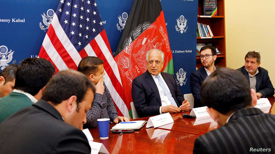U.S. special envoy for peace in Afghanistan, Zalmay Khalilzad, center, speaks during a roundtable discussion with Afghan media at the U.S Embassy in Kabul, Afghanistan Jan. 28, 2019.
