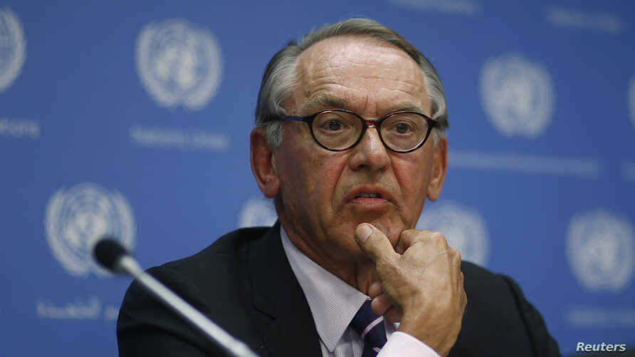 United Nations Deputy Secretary-General Jan Eliasson listens to reporters during a briefing about the situation in Gaza at the United Nations headquarters in New York, July 30, 2014.