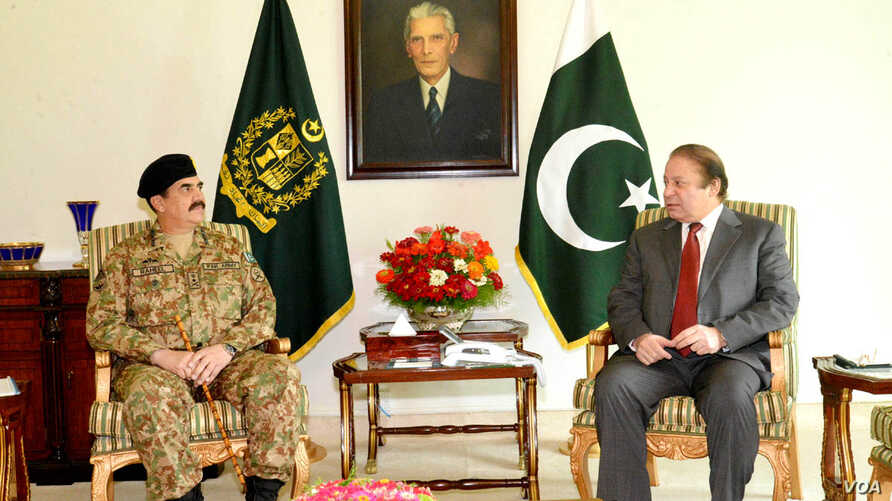 Chief of Army Staff General Raheel Sharif called on Prime Minister Muhammad Nawaz Sharif in Islamabad on July 9, 2014