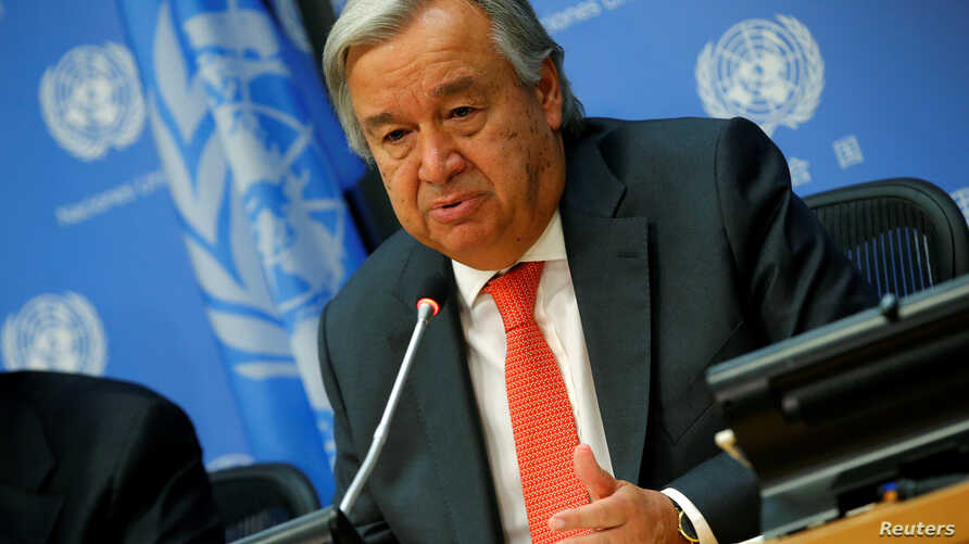U.N. Secretary General Antonio Guterres speaks at a news conference ahead of the 72nd United Nations General Assembly at U.N. headquarters in New York, Sept. 13, 2017.