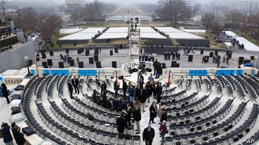 Fog hangs in the air at a dress rehearsal for military participation in the 57th Presidential Inaugural ceremonies, West Steps of the U.S. Capitol, Washington, Jan. 13, 2013.