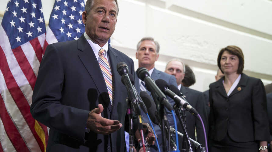 House Speaker John Boehner of Ohio speaks during a news conference on Capitol Hill in Washington, July 9, 2014.