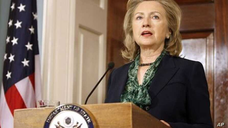 Secretary of State Hillary Rodham Clinton makes a statement regarding the death of Osama bin Laden, at the State Department in Washington, May 2, 2011