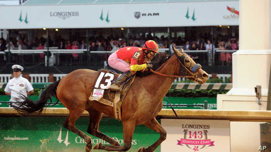 Abel Tasman, ridden by jockey Mike Smith, wins the Longines Kentucky Oaks at Churchill Downs, Friday, May 5, 2017, in Louisville, KY. Longines, the Swiss watch manufacturer known for its luxury timepieces, is the Official Watch and Timekeeper of the