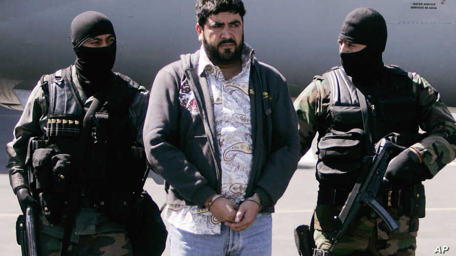 """FILE - In this Jan. 21, 2008 photo, Mexican federal police officers escort Alfredo Beltran Leyva, known as """"El Mochomo"""", after his arrest upon his arrival to Mexico City's airport."""