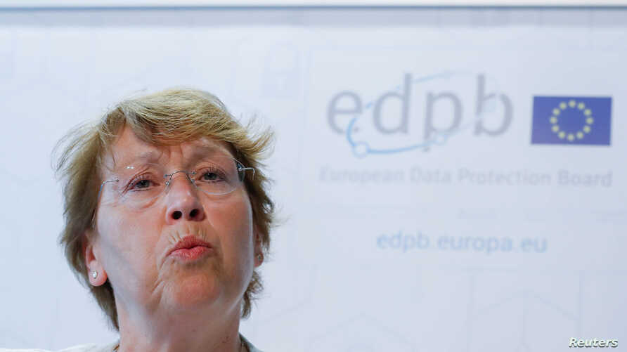 Andrea Jelinek, the head of the European Data Protection Board (EDPB), a new European body created to enforce the General Data Protection Regulation (GDPR), gives a news conference on the day the European data privacy regulation enters into force, in