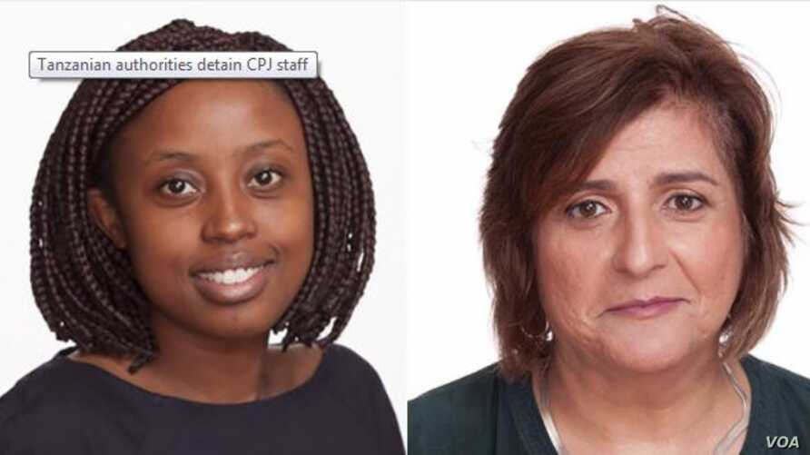 Tanzanian authorities on Thursday released Muthoki Mumo, left, and Angela Quintal, both of the Committee to Protect Journalists, after detaining them for a day. They're pictured in a screen grab from CPJ's website.