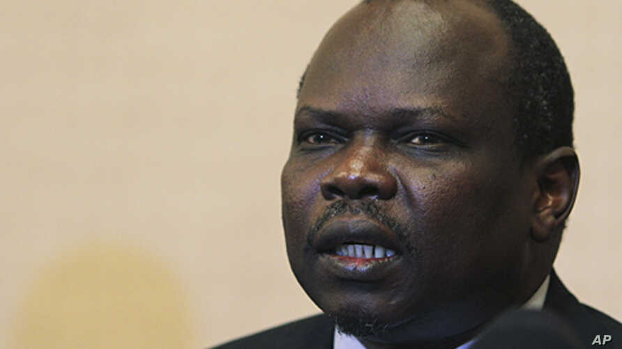 Pagan Amum, South Sudan's top negotiator in the oil dispute talks with Khartoum, speaks during a news conference in Ethiopia's capital, Addis Ababa, January 27, 2012.