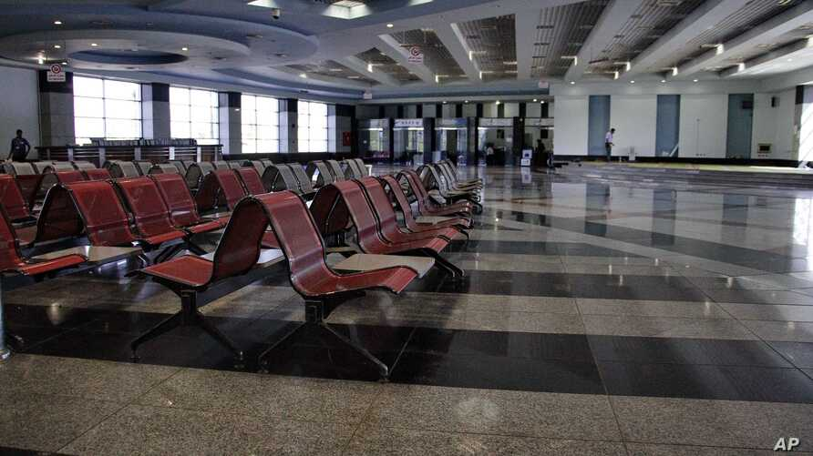 FILE - An empty arrival hall is seen at the Sharm el-Sheikh Airport in south Sinai, Egypt, Nov. 9, 2015. After an October 2015 crash of a Russian passenger jet on the Sinai Peninsula that left 224 people dead Russia is resume flights to Egypt, Presid