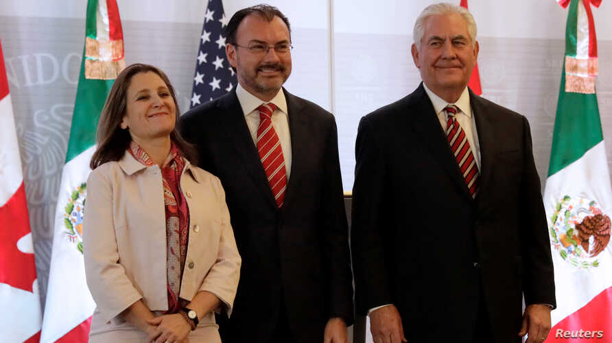 Canadian Foreign Minister Chrystia Freeland, Mexican Foreign Minister Luis Videgaray and U.S. Secretary of State Rex Tillerson are pictured after a news conference in Mexico City, Feb. 2, 2018.