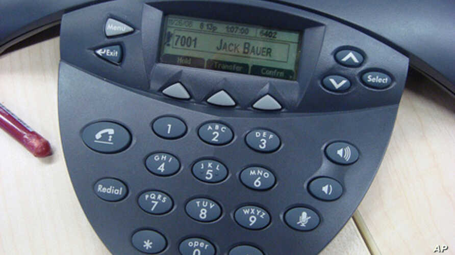 A typical read-out of an incoming caller's name on a desk