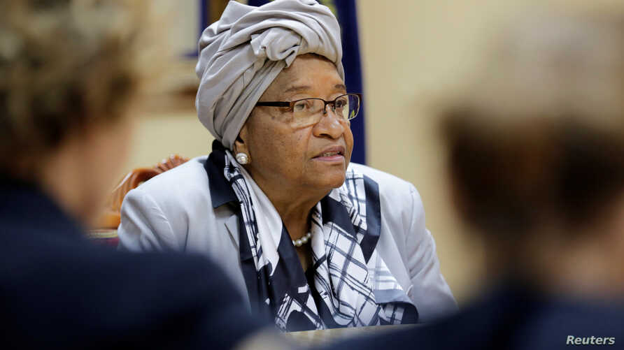 Liberia's President Ellen Johnson Sirleaf attends a news conference at the Presidential Palace in Monrovia, Liberia, Oct. 12, 2017.
