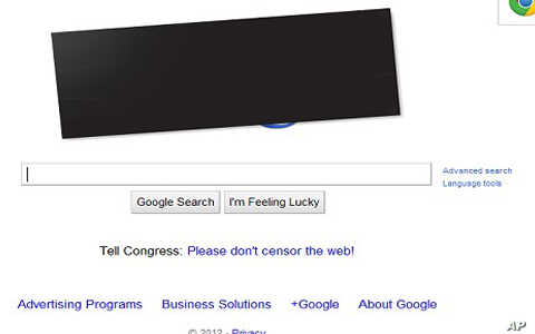 Google posts black bar over it's colorful logo in protest of anti-piracy laws under consideration in U.S. Congress, January 18, 2011