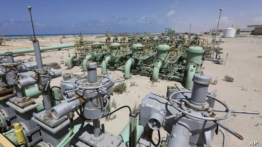 A general view of pipelines at the Zueitina oil terminal in Zueitina, west of Benghazi, April 7, 2014.