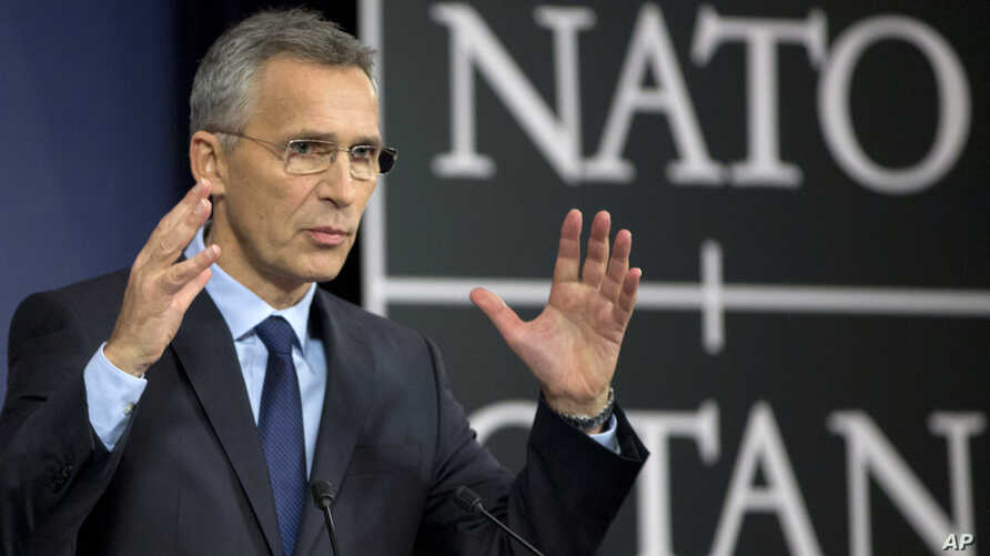 NATO Secretary-General Jens Stoltenberg speaks during a media conference at NATO headquarters in Brussels, Nov. 7, 2017.