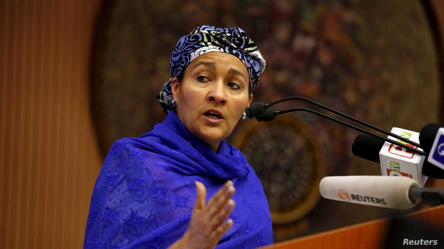 Minister of Environment Amina Mohammed speaks at the opening session of a Public Lecture on Nigeria and the commonwealth of Nations in Abuja, Nigeria, Feb. 18, 2016.