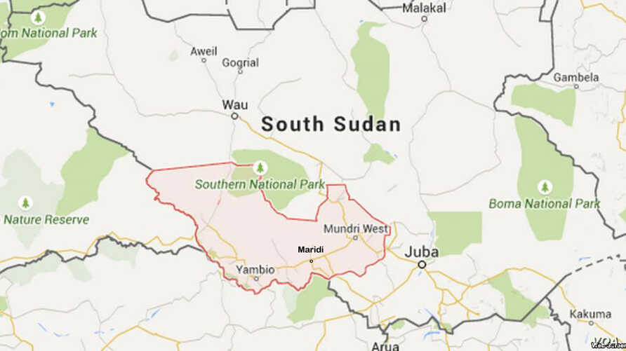 Map of Western Equatoria state in South Sudan, showing the town of Maridi.