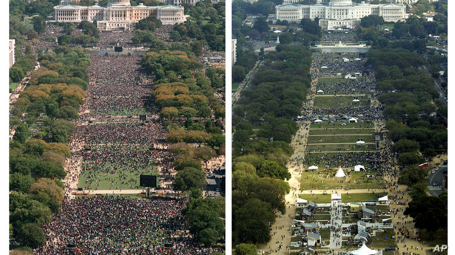 The Oct. 16, 1995 photograph at left, taken from the Washington Monument, shows the National Mall in Washington and the crowd for the Million Man March.  The photograph at right, also taken from the Washington Monument, shows the crowd gathered on th