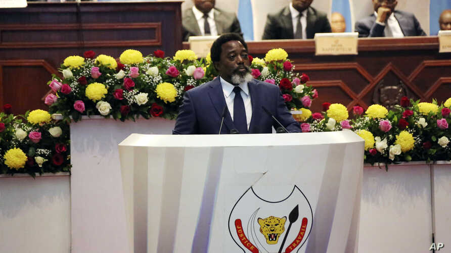 Congo's President Joseph Kabila speaks during the state of the nation address to the National Assembly in Kinshasa, Democratic Republic of Congo, July 19, 2018.