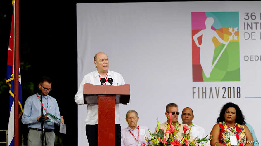 Cuba's Minister of Foreign Trade and Investment Rodrigo Malmierca speaks during the opening ceremony of the 36th Havana International Fair (FIHAV) in Havana, Cuba, Oct. 29, 2018.