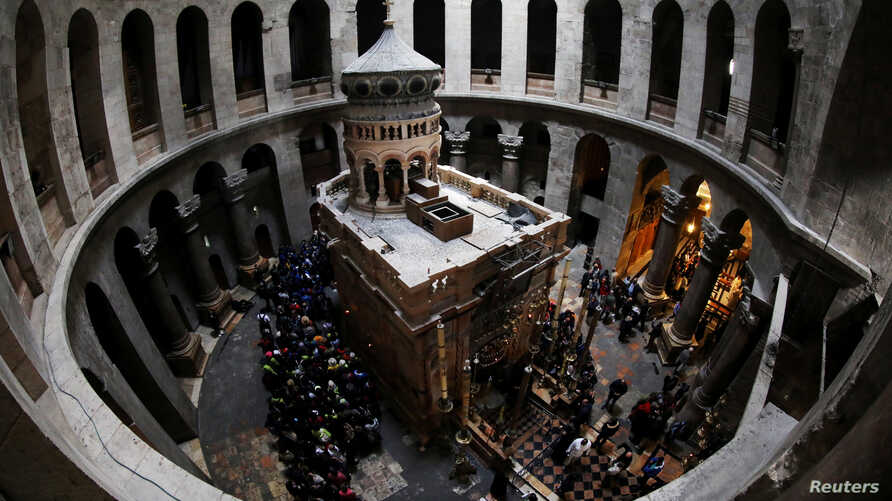 A general view of the Edicule of the Tomb at the Church of the Holy Sepulcher in Jerusalem's Old City, Feb. 28, 2018. Picture taken with a fish-eye lens.