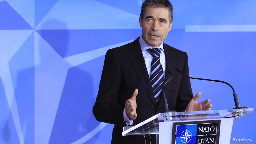 NATO Secretary-General Anders Fogh Rasmussen holds a news conference ahead a two-day NATO foreign ministers at the Alliance's headquarters in Brussels, December 4, 2012.