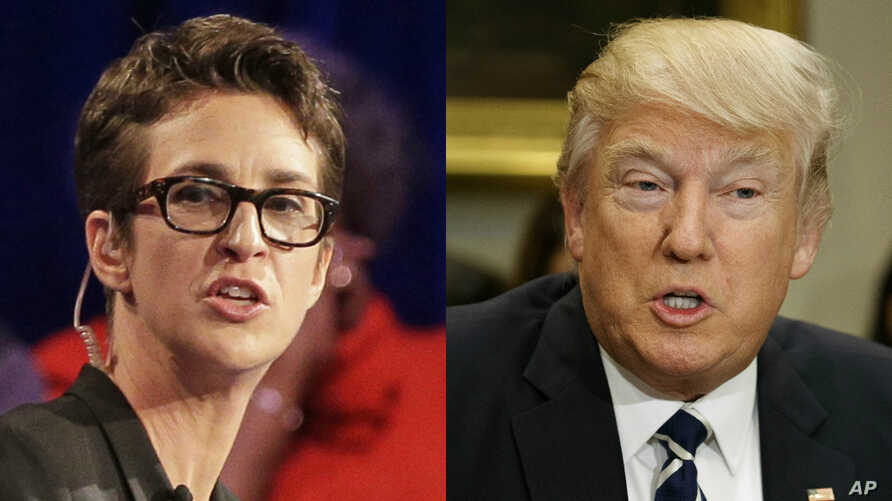 From left, MSNBC TV-show host Rachel Maddow and President Donald Trump.