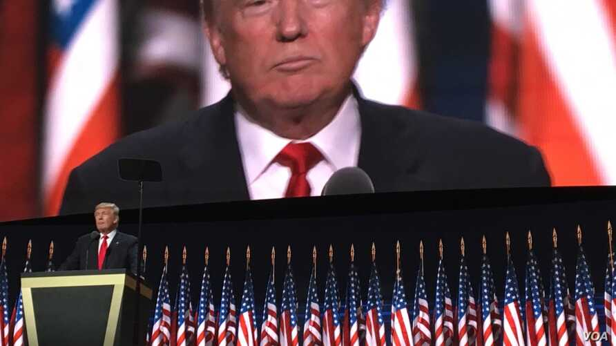 Donald Trump accepts the Republican Party's presidential nomination at the national convention, in Cleveland, July 21, 2016.