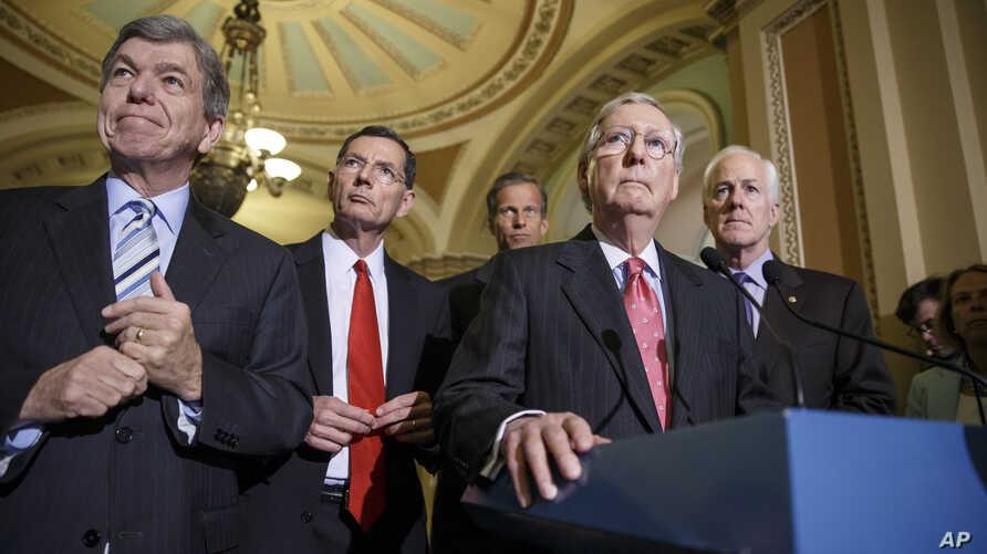 Senate Republican leaders, from left, Sen. Roy Blunt, R-Mo., Sen. John Barrasso, R-Wyo., Sen. John Thune, R-S.D., Senate Minority Leader Mitch McConnell, R-Ky., and Senate Minority Whip John Cornyn, R-Texas, meet with reporters, at the Capitol in Was