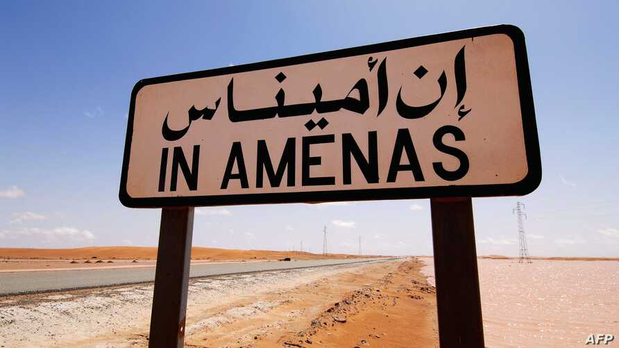 Handout photo by Norway energy group Statoil road sign near the In Amenas gas field, jointly operated by British oil giant BP, Norway's Statoil and state-run Algerian energy firm Sonatrach, in eastern Algeria near the Libyan border.