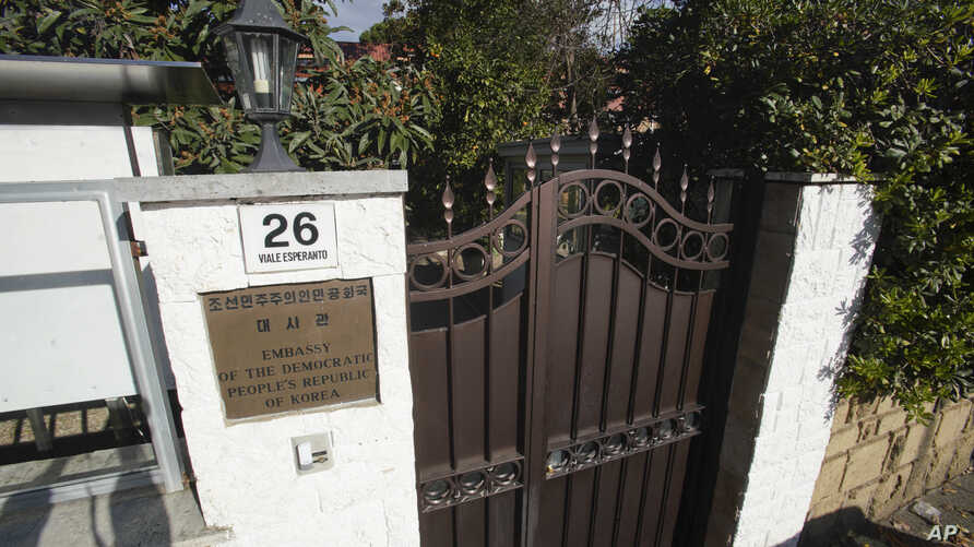 An external view of the North Korean embassy in Rome, Jan. 3, 2018. North Korea's acting ambassador to Italy, Jo Song Gil, went into hiding with his wife in November, South Korea's spy agency told lawmakers in Seoul Thursday.