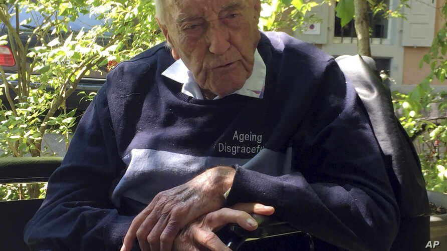 104-year-old Australian scientist David Goodall sits in a wheelchair in Basel, Switzerland, Tuesday, May 8, 2018.