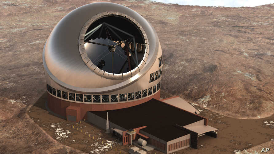 FILE - This 2011 artist rendering provided by Thirty Meter Telescope, shows the Thirty Meter Telescope.