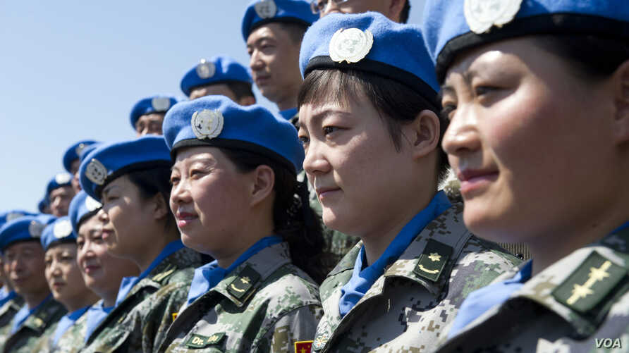 Chinese U.N. peacekeepers take part in a training camp in Beijing. A 700-strong battalion of Chinese peacekeepers is poised to deploy in Juba, South Sudan, the U.N. said on Jan. 15, 2015.