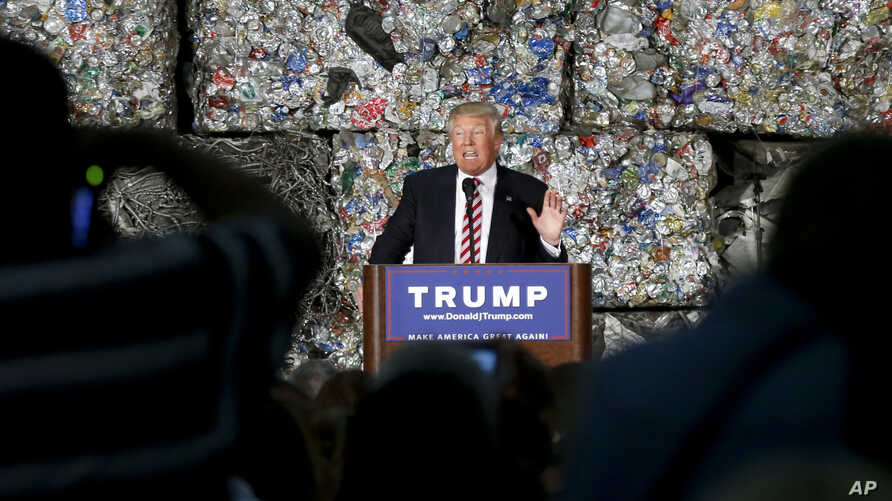 Republican presidential candidate Donald Trump speaks during a campaign stop at Alumisource, a metals recycling facility in Monessen, Pennsylvania, June 28, 2016.